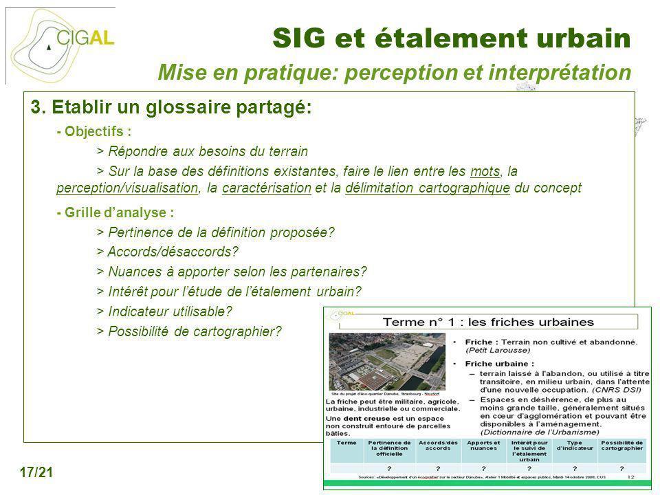Présentation CIGAL - 5 décembre 2006 SIG et étalement urbain 17/21 3. Etablir un glossaire partagé: - Objectifs : > Répondre aux besoins du terrain >