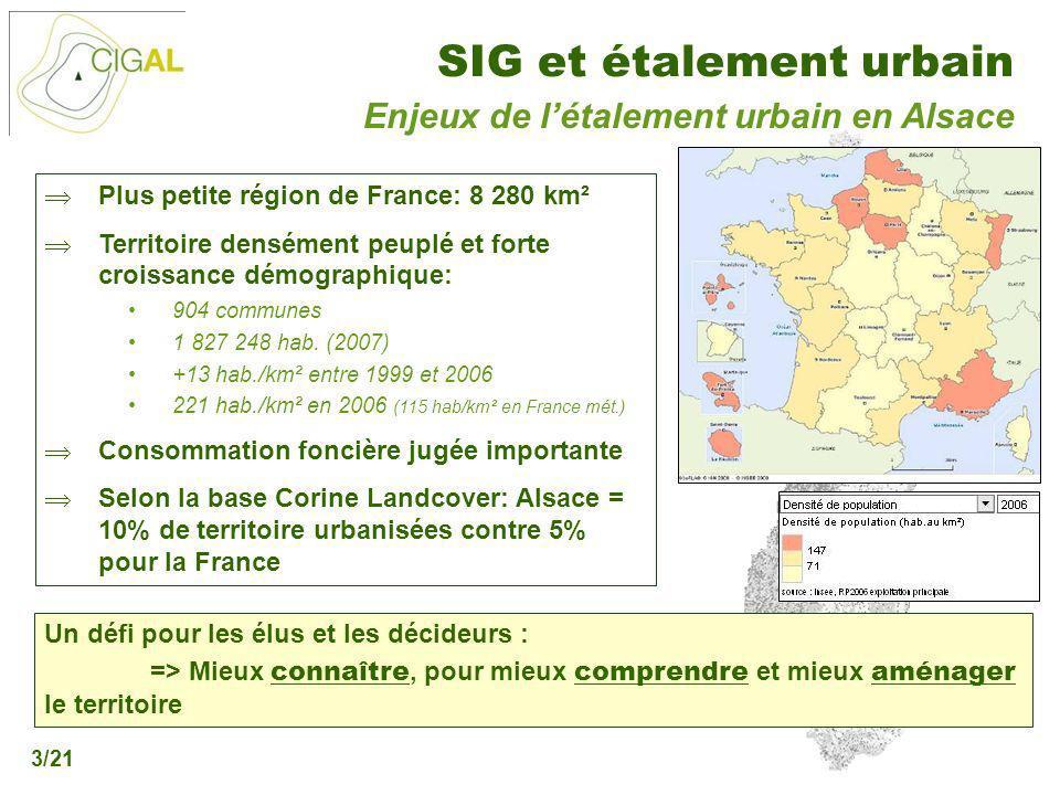 Présentation CIGAL - 5 décembre 2006 SIG et étalement urbain 3/21 Enjeux de létalement urbain en Alsace Plus petite région de France: 8 280 km² Territ
