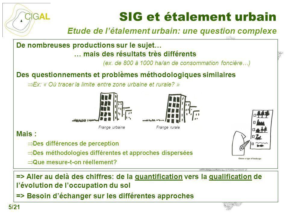 Présentation CIGAL - 5 décembre 2006 SIG et étalement urbain 5/21 De nombreuses productions sur le sujet… … mais des résultats très différents (ex. de