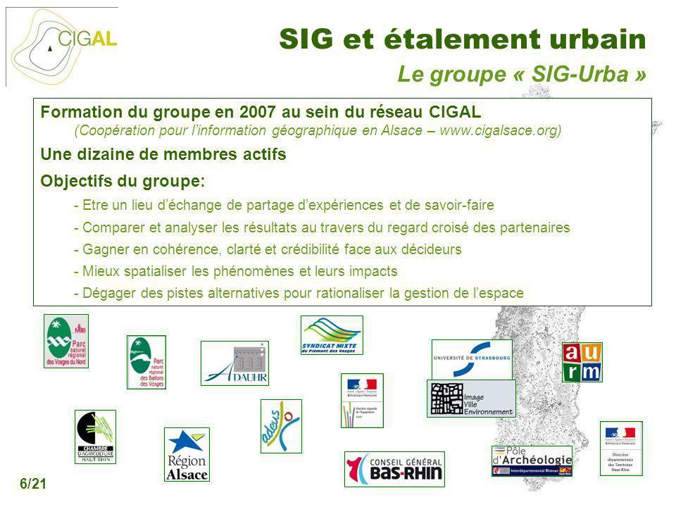 Présentation CIGAL - 5 décembre 2006 SIG et étalement urbain 6/21 Le groupe « SIG-Urba » Formation du groupe en 2007 au sein du réseau CIGAL (Coopérat