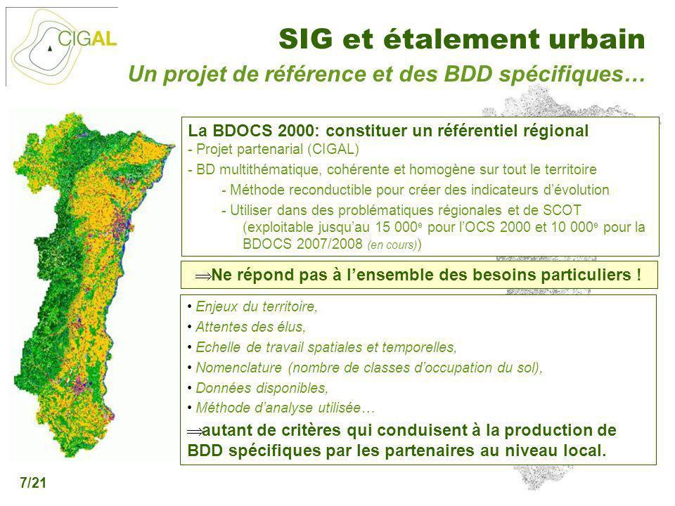 Présentation CIGAL - 5 décembre 2006 SIG et étalement urbain 7/21 Un projet de référence et des BDD spécifiques… La BDOCS 2000: constituer un référent