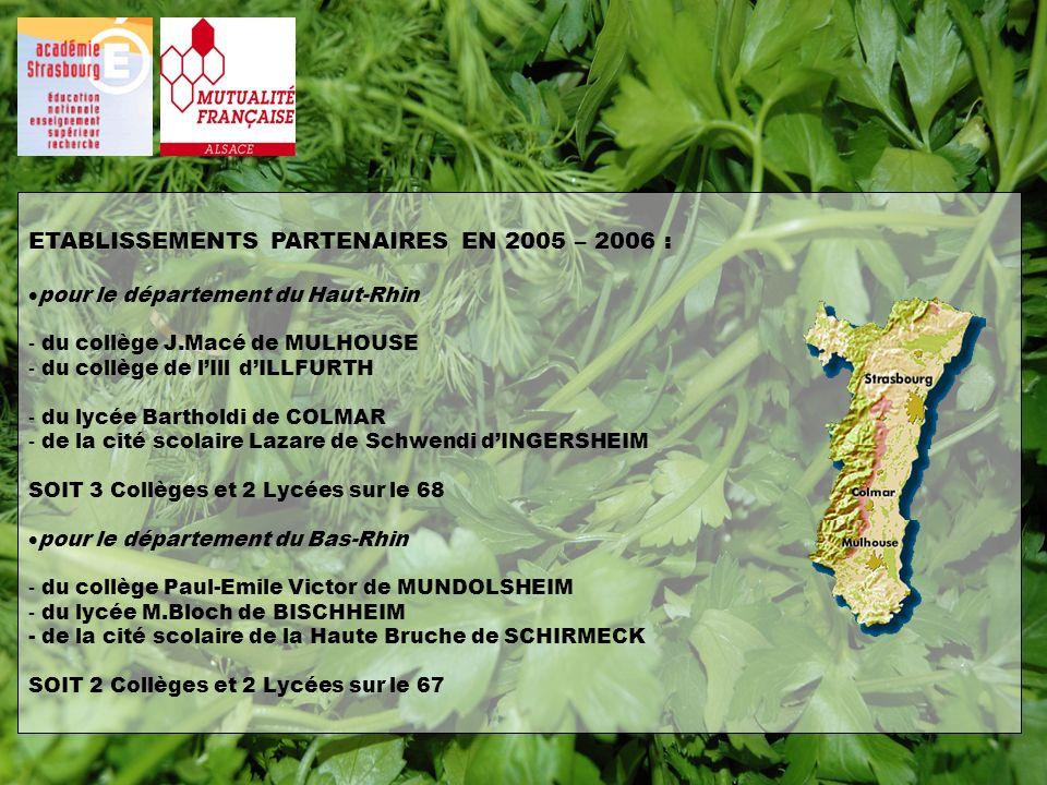 ETABLISSEMENTS PARTENAIRES EN 2005 – 2006 : pour le département du Haut-Rhin - du collège J.Macé de MULHOUSE - du collège de lIll dILLFURTH - du lycée