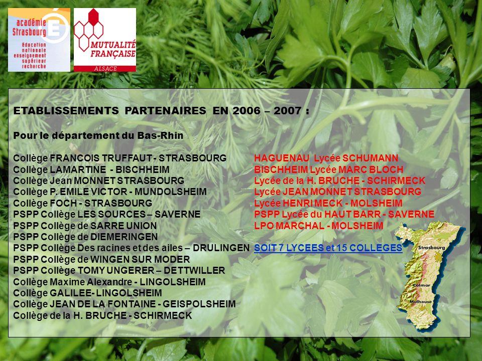 ETABLISSEMENTS PARTENAIRES EN 2006 – 2007 : Pour le département du Bas-Rhin Collège FRANCOIS TRUFFAUT - STRASBOURGHAGUENAU Lycée SCHUMANN Collège LAMA