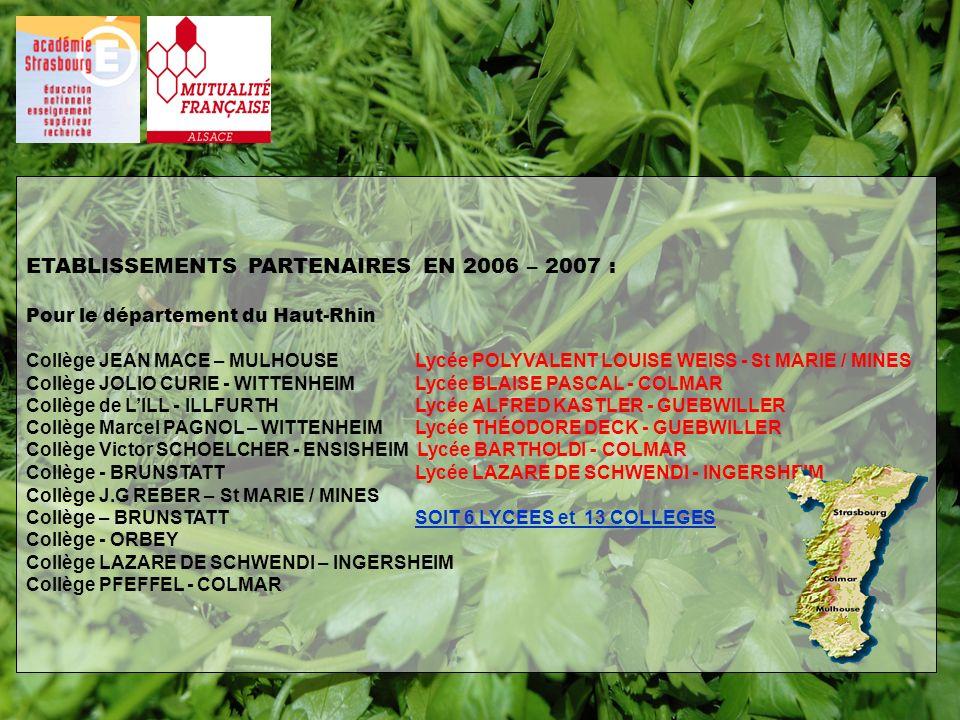 ETABLISSEMENTS PARTENAIRES EN 2006 – 2007 : Pour le département du Haut-Rhin Collège JEAN MACE – MULHOUSE Lycée POLYVALENT LOUISE WEISS - St MARIE / M
