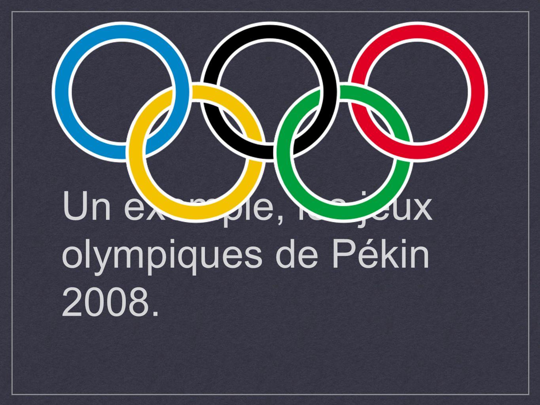 Un exemple, les jeux olympiques de Pékin 2008.