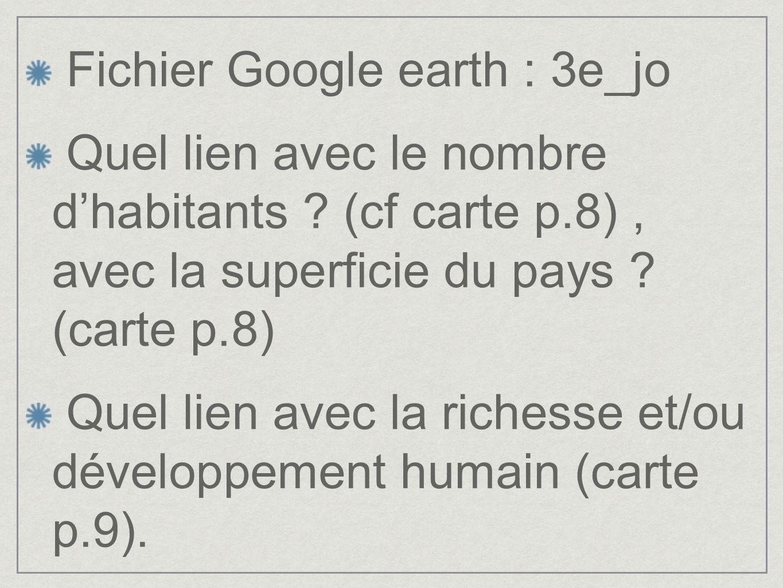 Fichier Google earth : 3e_jo Quel lien avec le nombre dhabitants ? (cf carte p.8), avec la superficie du pays ? (carte p.8) Quel lien avec la richesse