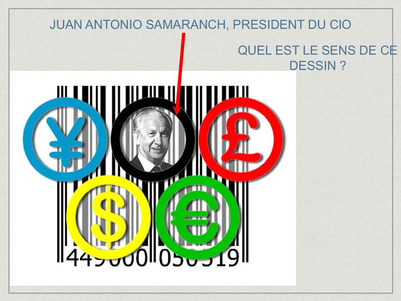 JUAN ANTONIO SAMARANCH, PRESIDENT DU CIO QUEL EST LE SENS DE CE DESSIN ?