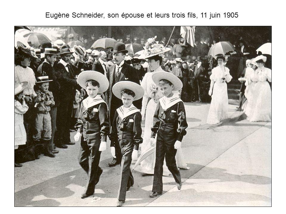 Eugène Schneider, son épouse et leurs trois fils, 11 juin 1905
