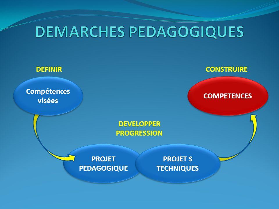 PROJET PEDAGOGIQUE Compétences visées COMPETENCES PROJET S TECHNIQUES DEFINIRCONSTRUIRE DEVELOPPER PROGRESSION