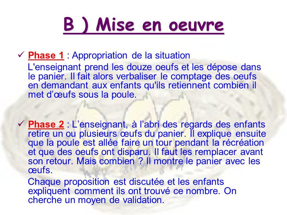 B ) Mise en oeuvre Phase 1 : Appropriation de la situation L enseignant prend les douze oeufs et les dépose dans le panier.