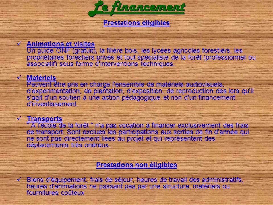 Le financement Prestations éligibles Animations et visites Un guide ONF (gratuit), la filière bois, les lycées agricoles forestiers, les propriétaires