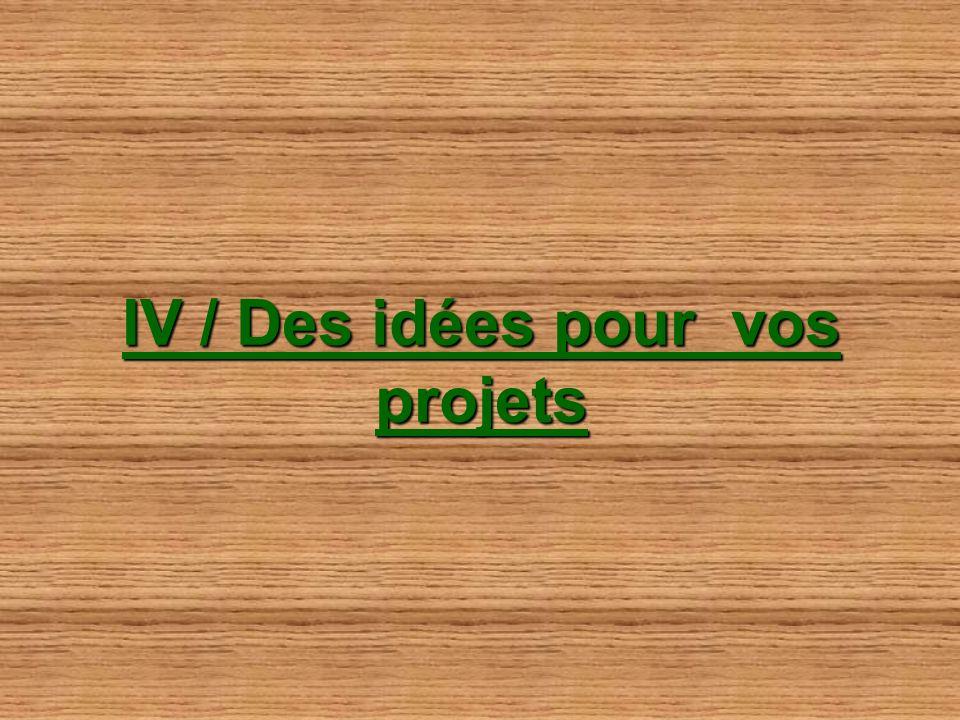 IV / Des idées pour vos projets