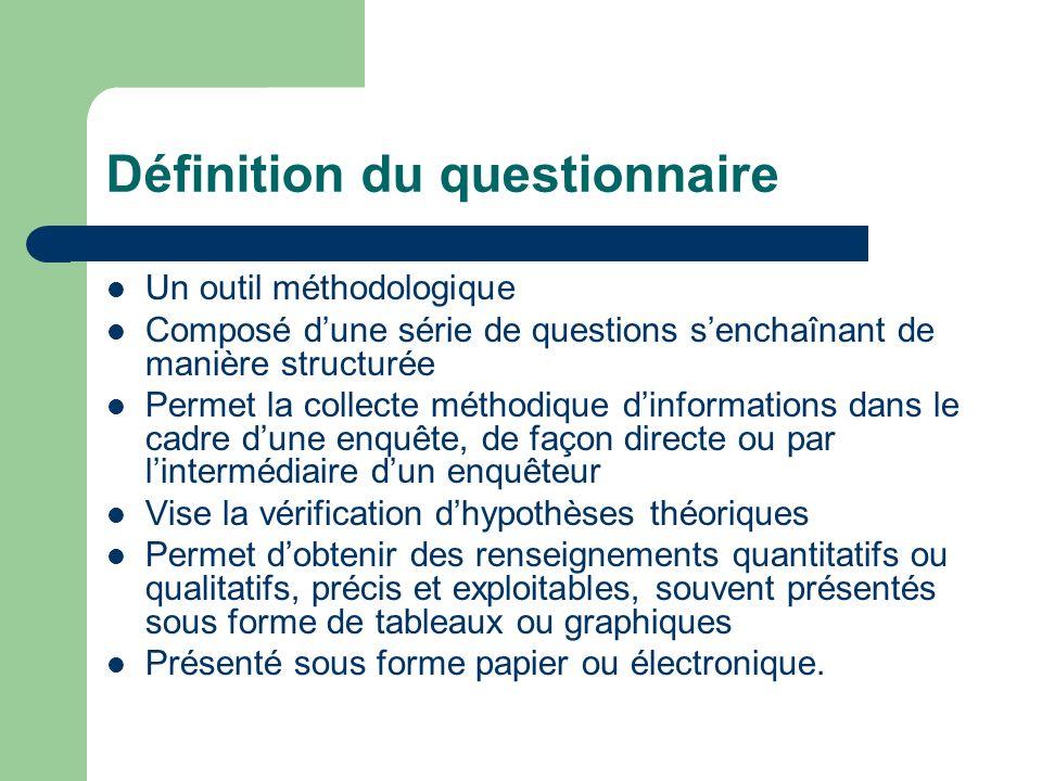 Définition du questionnaire Un outil méthodologique Composé dune série de questions senchaînant de manière structurée Permet la collecte méthodique di