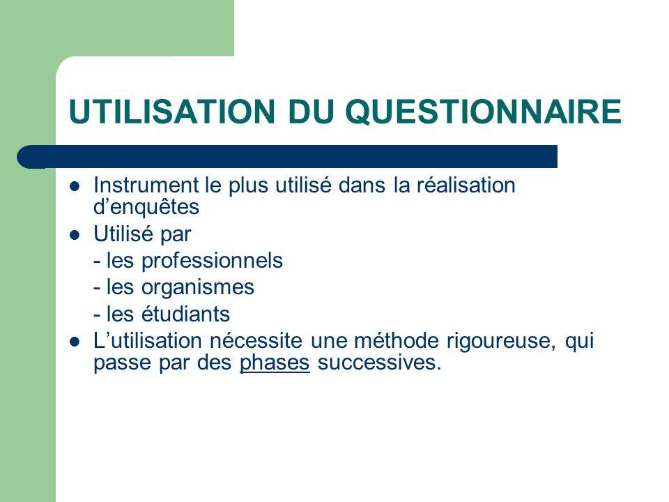 UTILISATION DU QUESTIONNAIRE Instrument le plus utilisé dans la réalisation denquêtes Utilisé par - les professionnels - les organismes - les étudiant