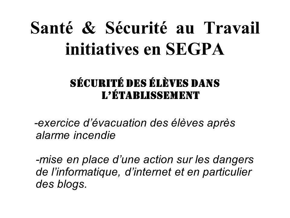 Santé & Sécurité au Travail initiatives en SEGPA sécurité des élèves dans létablissement -exercice dévacuation des élèves après alarme incendie -mise