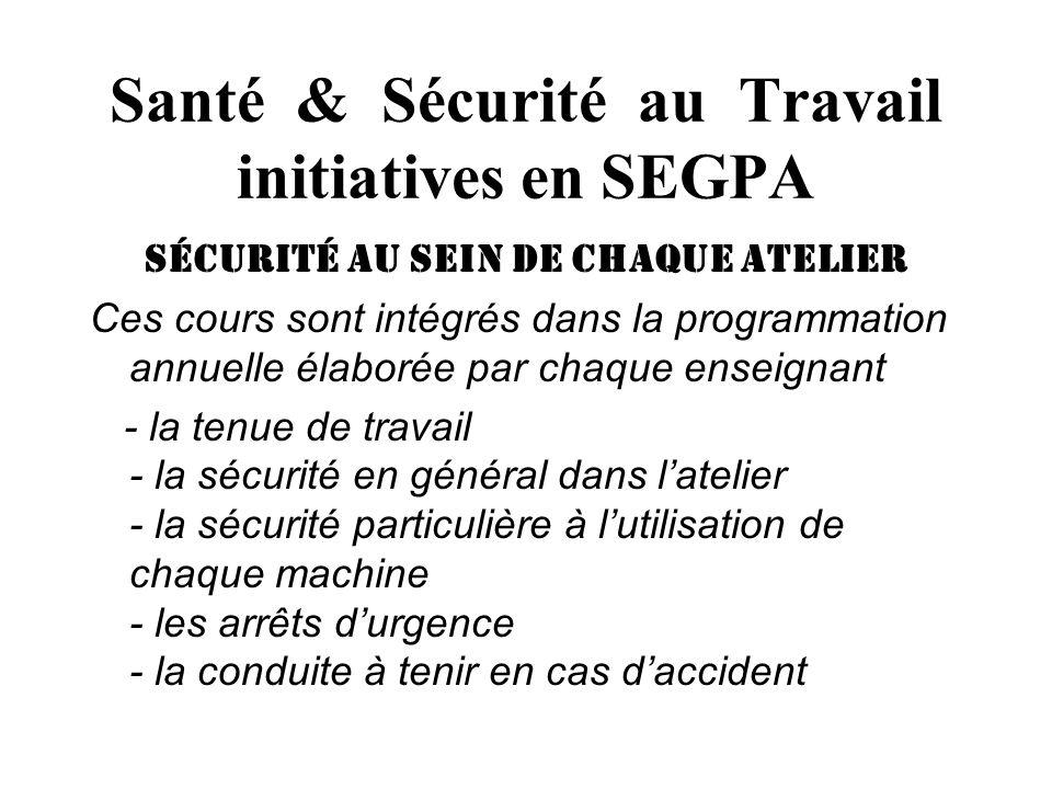 Santé & Sécurité au Travail initiatives en SEGPA sécurité au sein de chaque atelier Ces cours sont intégrés dans la programmation annuelle élaborée pa