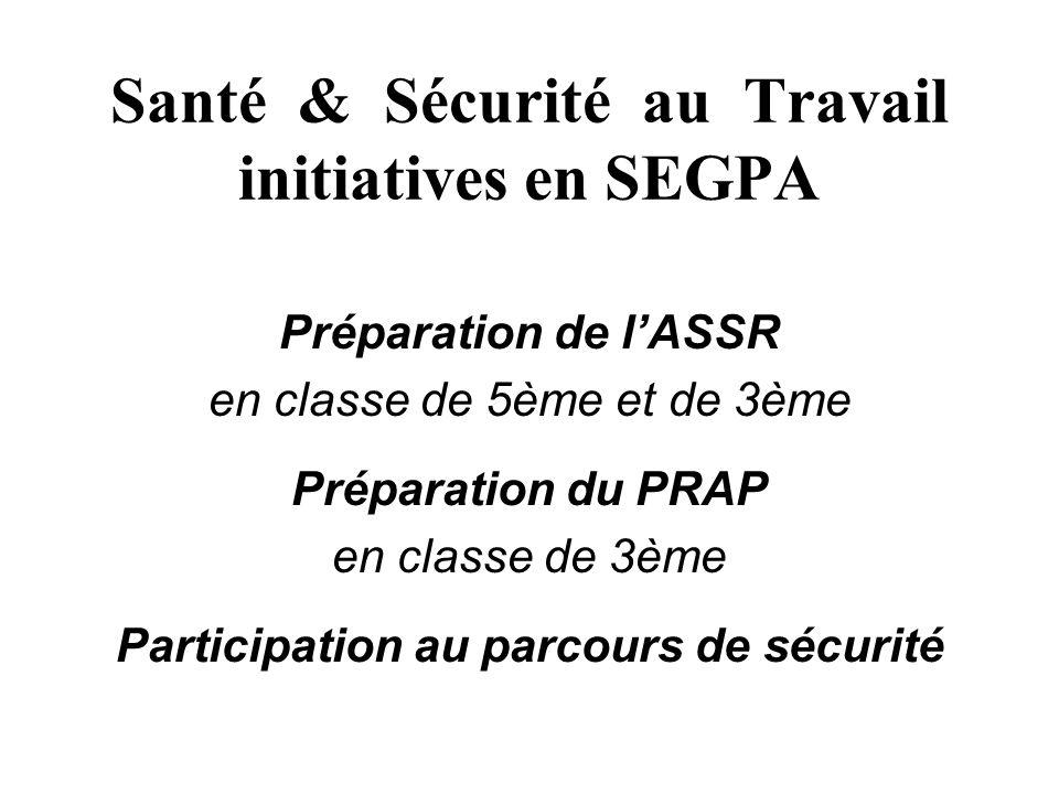 Santé & Sécurité au Travail initiatives en SEGPA Préparation de lASSR en classe de 5ème et de 3ème Préparation du PRAP en classe de 3ème Participation