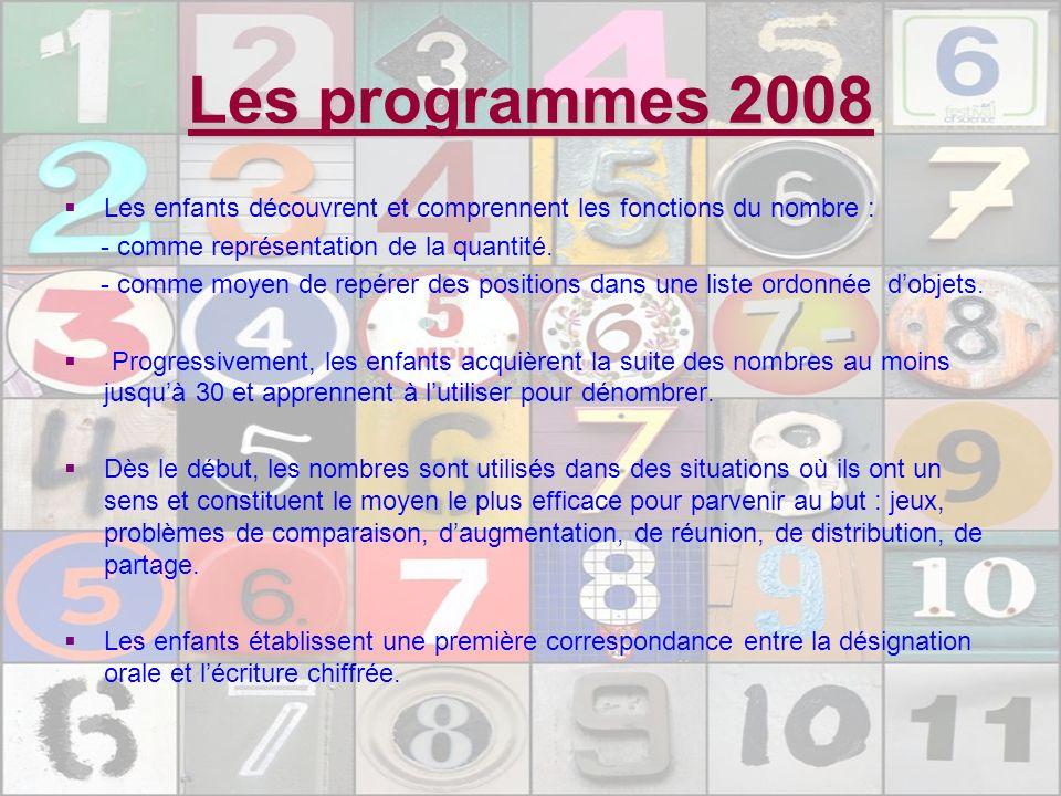 Les programmes 2008 Les enfants découvrent et comprennent les fonctions du nombre : - comme représentation de la quantité. - comme moyen de repérer de