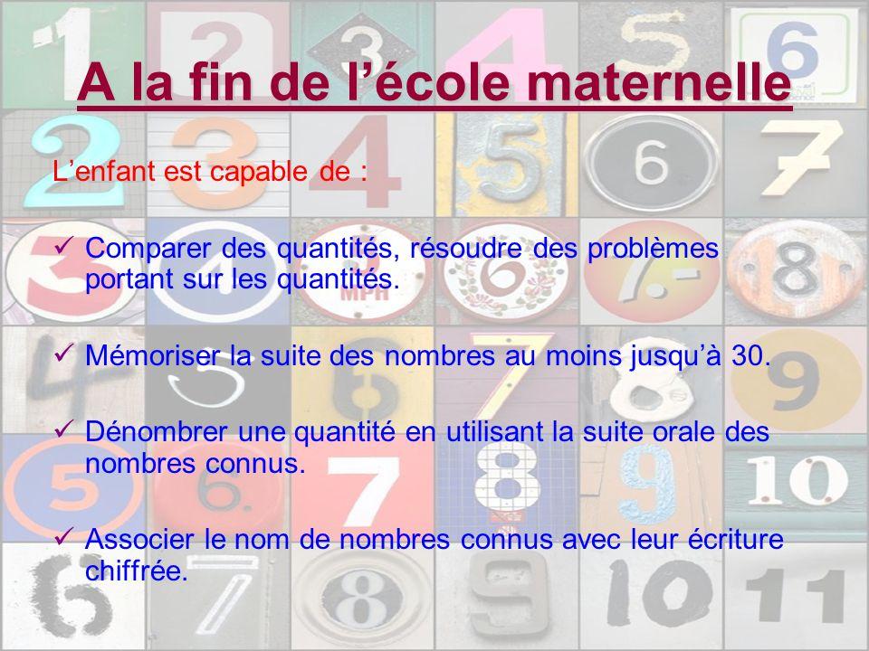 A la fin de lécole maternelle Lenfant est capable de : Comparer des quantités, résoudre des problèmes portant sur les quantités. Mémoriser la suite de