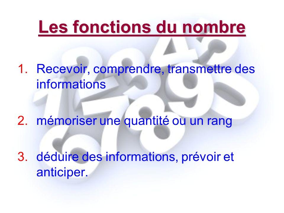 Les fonctions du nombre 1.Recevoir, comprendre, transmettre des informations 2.mémoriser une quantité ou un rang 3.déduire des informations, prévoir e