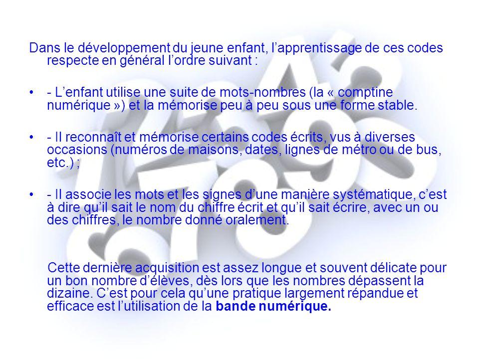 Dans le développement du jeune enfant, lapprentissage de ces codes respecte en général lordre suivant : - Lenfant utilise une suite de mots-nombres (l