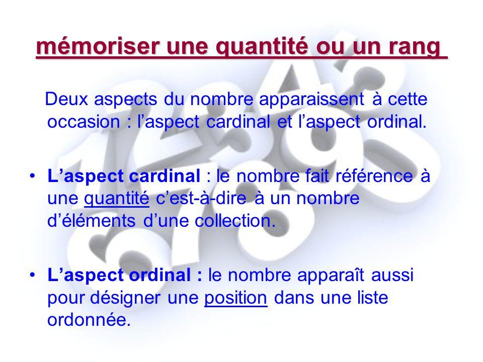 mémoriser une quantité ou un rang Deux aspects du nombre apparaissent à cette occasion : laspect cardinal et laspect ordinal. Laspect cardinal : le no