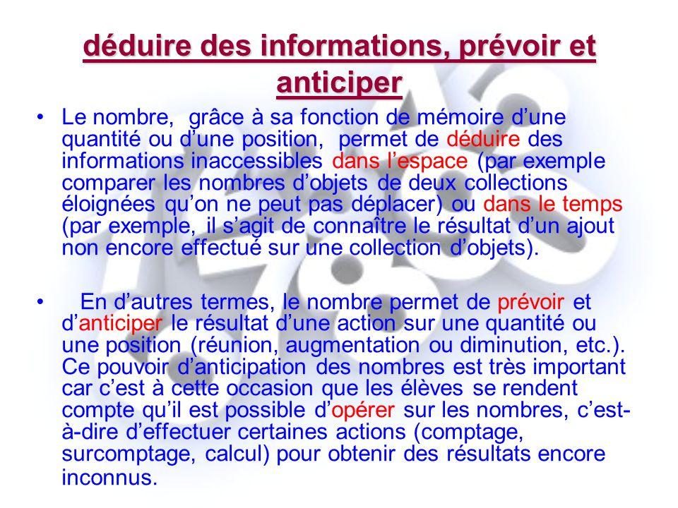 déduire des informations, prévoir et anticiper Le nombre, grâce à sa fonction de mémoire dune quantité ou dune position, permet de déduire des informa