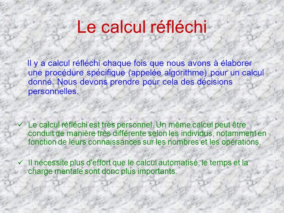 Le calcul réfléchi Il y a calcul réfléchi chaque fois que nous avons à élaborer une procédure spécifique (appelée algorithme) pour un calcul donné. No