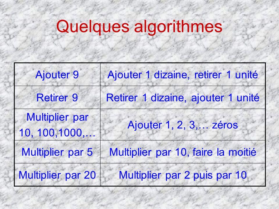 Quelques algorithmes Ajouter 9Ajouter 1 dizaine, retirer 1 unité Retirer 9Retirer 1 dizaine, ajouter 1 unité Multiplier par 10, 100,1000,… Ajouter 1,