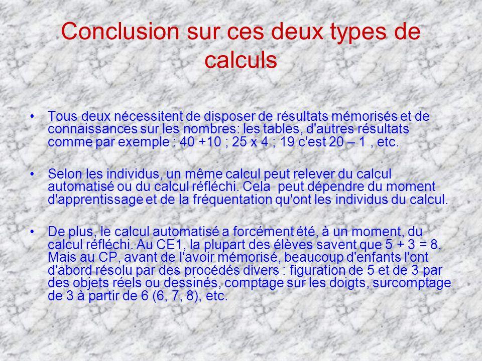 Conclusion sur ces deux types de calculs Tous deux nécessitent de disposer de résultats mémorisés et de connaissances sur les nombres: les tables, d'a