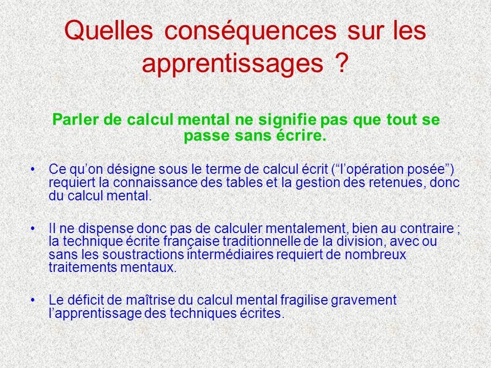 Quelles conséquences sur les apprentissages ? Parler de calcul mental ne signifie pas que tout se passe sans écrire. Ce quon désigne sous le terme de