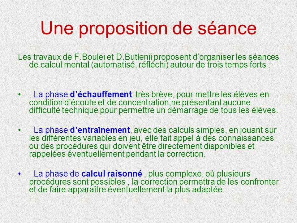 Une proposition de séance Les travaux de F.Boulei et D.Butlenii proposent dorganiser les séances de calcul mental (automatisé, réfléchi) autour de tro