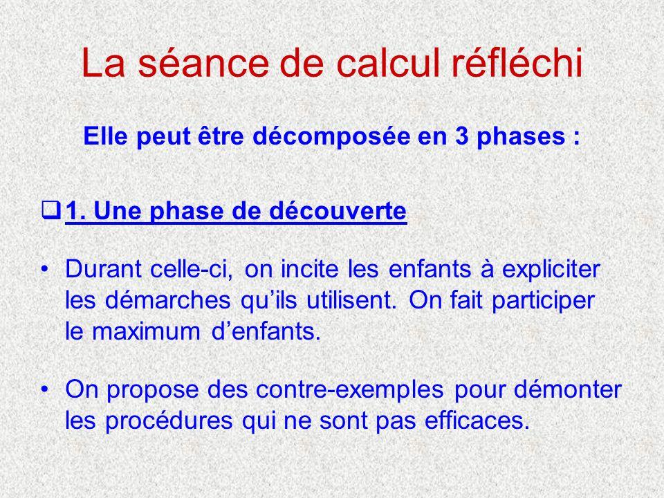 La séance de calcul réfléchi Elle peut être décomposée en 3 phases : 1. Une phase de découverte Durant celle-ci, on incite les enfants à expliciter le