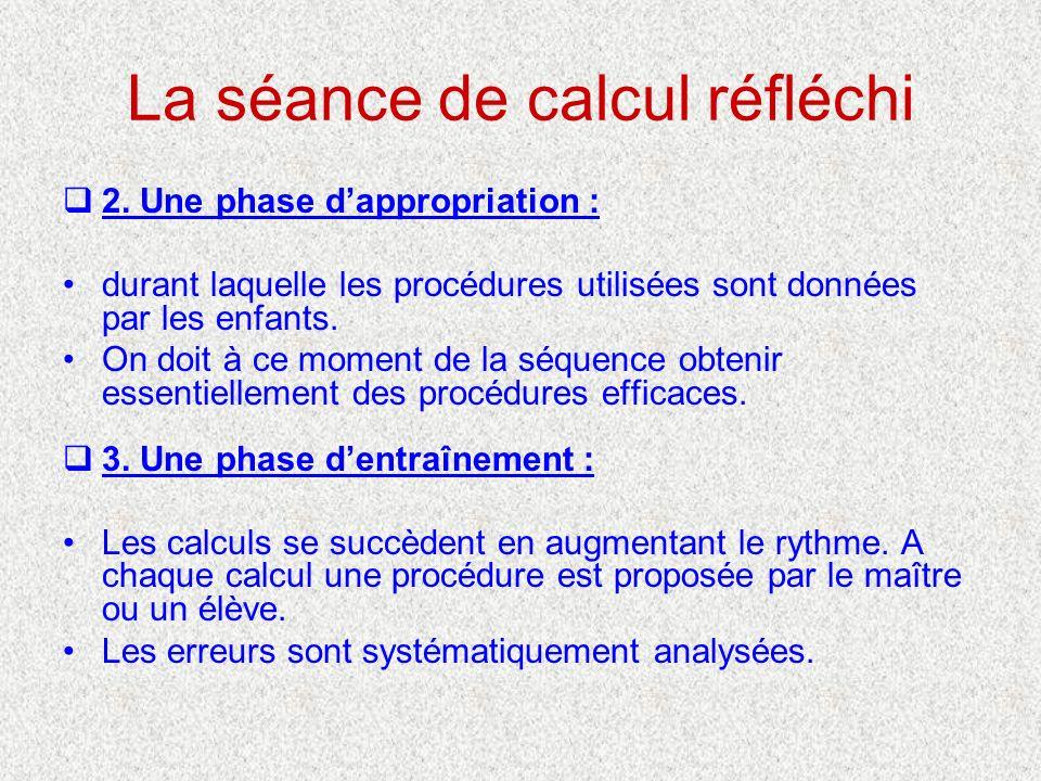 La séance de calcul réfléchi 2. Une phase dappropriation : durant laquelle les procédures utilisées sont données par les enfants. On doit à ce moment