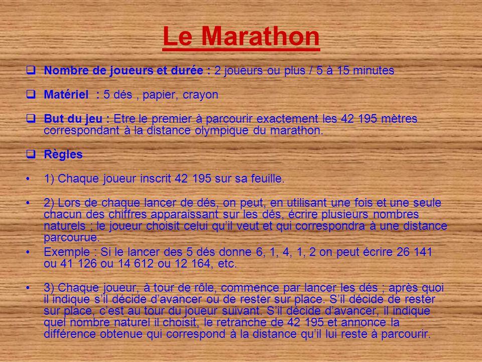 Le Marathon Nombre de joueurs et durée : 2 joueurs ou plus / 5 à 15 minutes Matériel : 5 dés, papier, crayon But du jeu : Etre le premier à parcourir