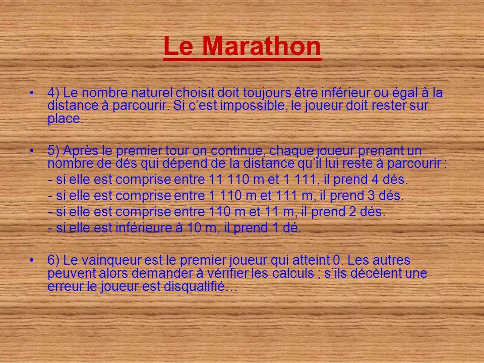 Le Marathon 4) Le nombre naturel choisit doit toujours être inférieur ou égal à la distance à parcourir. Si cest impossible, le joueur doit rester sur
