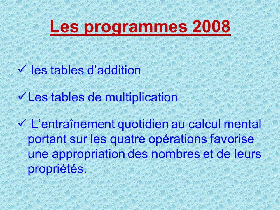 Les programmes 2008 les tables daddition Les tables de multiplication Lentraînement quotidien au calcul mental portant sur les quatre opérations favor
