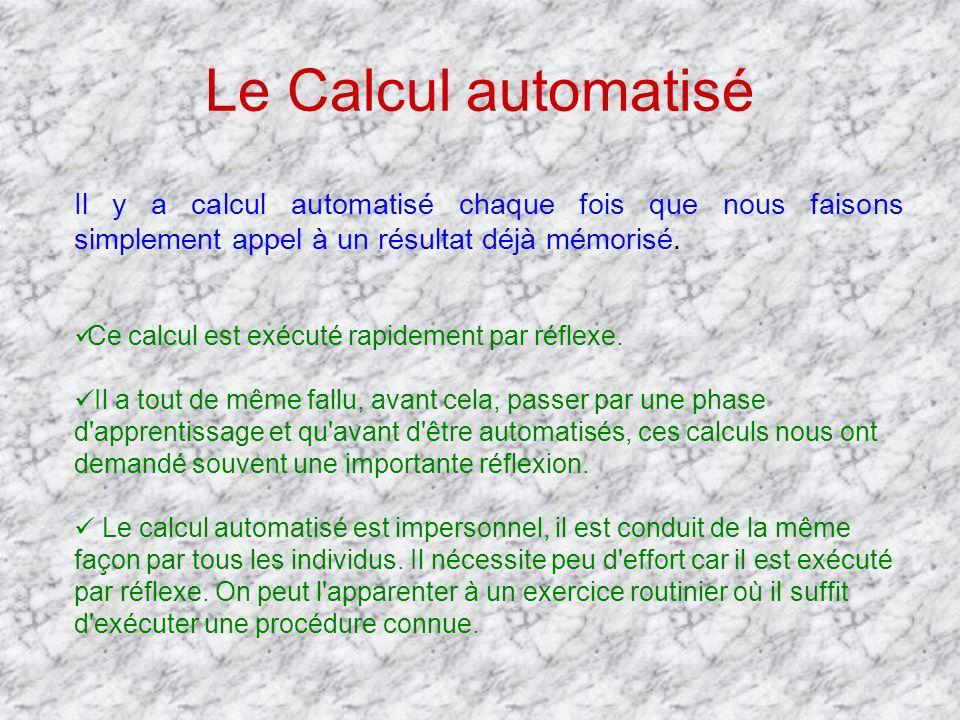 Le Calcul automatisé Il y a calcul automatisé chaque fois que nous faisons simplement appel à un résultat déjà mémorisé. Ce calcul est exécuté rapidem