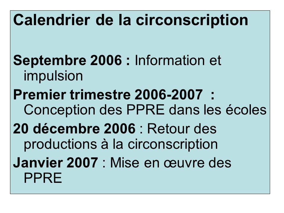 Calendrier de la circonscription Septembre 2006 : Information et impulsion Premier trimestre 2006-2007 : Conception des PPRE dans les écoles 20 décemb