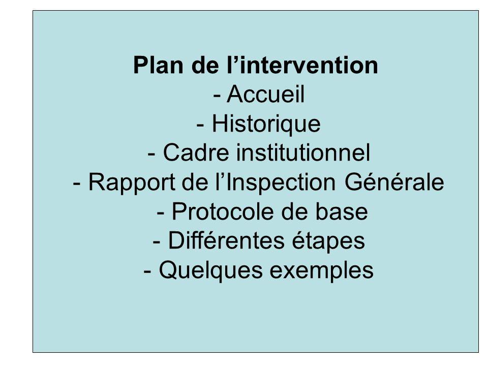 Plan de lintervention - Accueil - Historique - Cadre institutionnel - Rapport de lInspection Générale - Protocole de base - Différentes étapes - Quelq