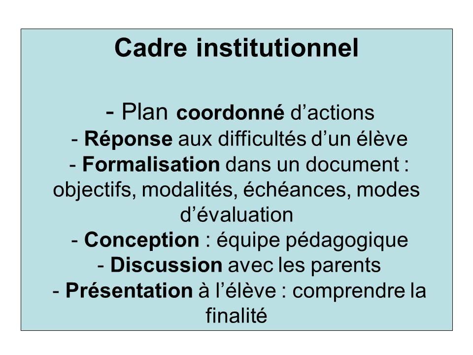 Cadre institutionnel - Plan coordonné dactions - Réponse aux difficultés dun élève - Formalisation dans un document : objectifs, modalités, échéances,