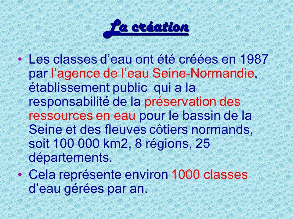 La création Les classes deau ont été créées en 1987 par lagence de leau Seine-Normandie, établissement public qui a la responsabilité de la préservati