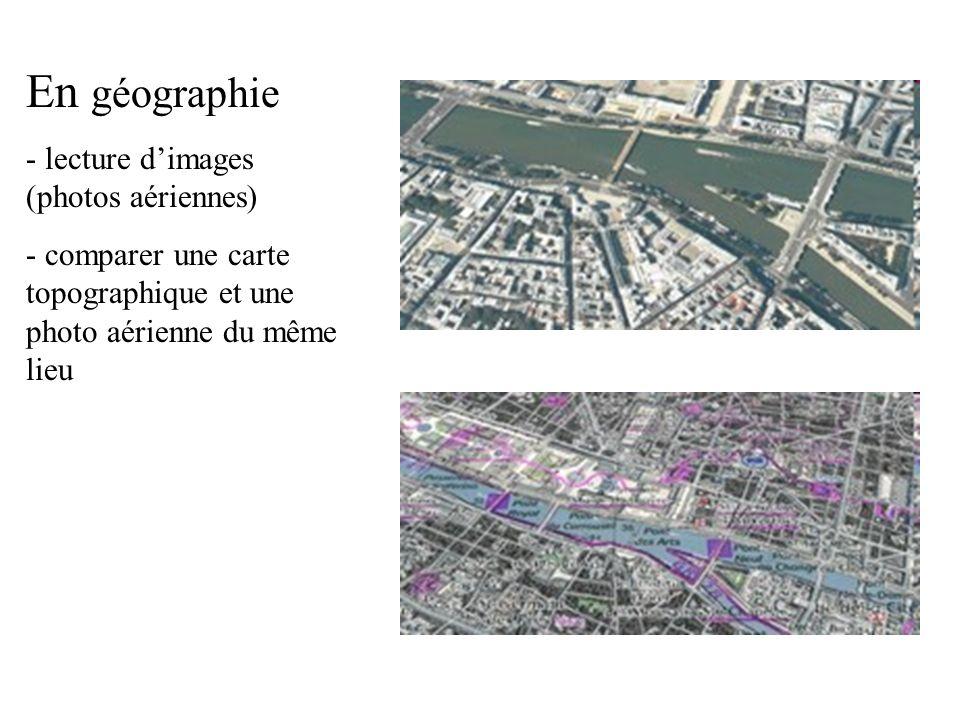 En géographie - lecture dimages (photos aériennes) - comparer une carte topographique et une photo aérienne du même lieu