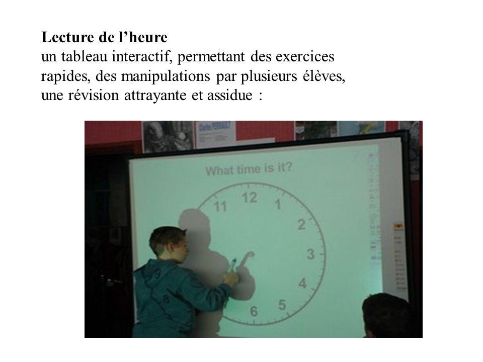 Lecture de lheure un tableau interactif, permettant des exercices rapides, des manipulations par plusieurs élèves, une révision attrayante et assidue :