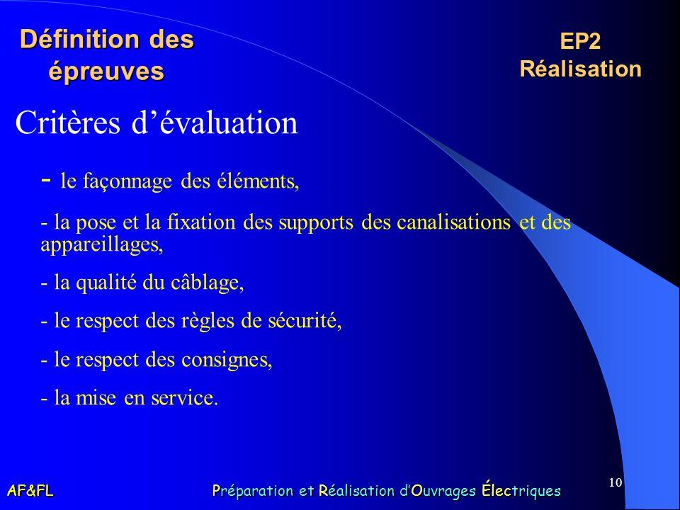 10 Définition des épreuves Critères dévaluation - le façonnage des éléments, - la pose et la fixation des supports des canalisations et des appareilla