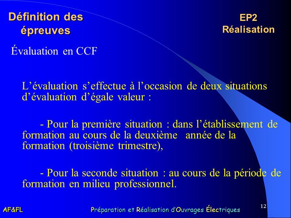 12 Définition des épreuves Évaluation en CCF Lévaluation seffectue à loccasion de deux situations dévaluation dégale valeur : - Pour la première situa