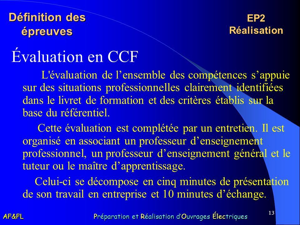 13 Définition des épreuves Évaluation en CCF L'évaluation de lensemble des compétences sappuie sur des situations professionnelles clairement identifi