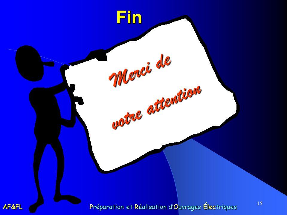 15 Fin Merci de votre attention AF&FL Préparation et Réalisation dOuvrages Électriques