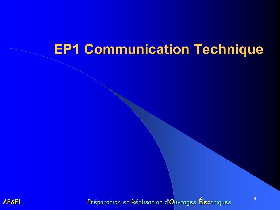 3 EP1 Communication Technique AF&FL Préparation et Réalisation dOuvrages Électriques
