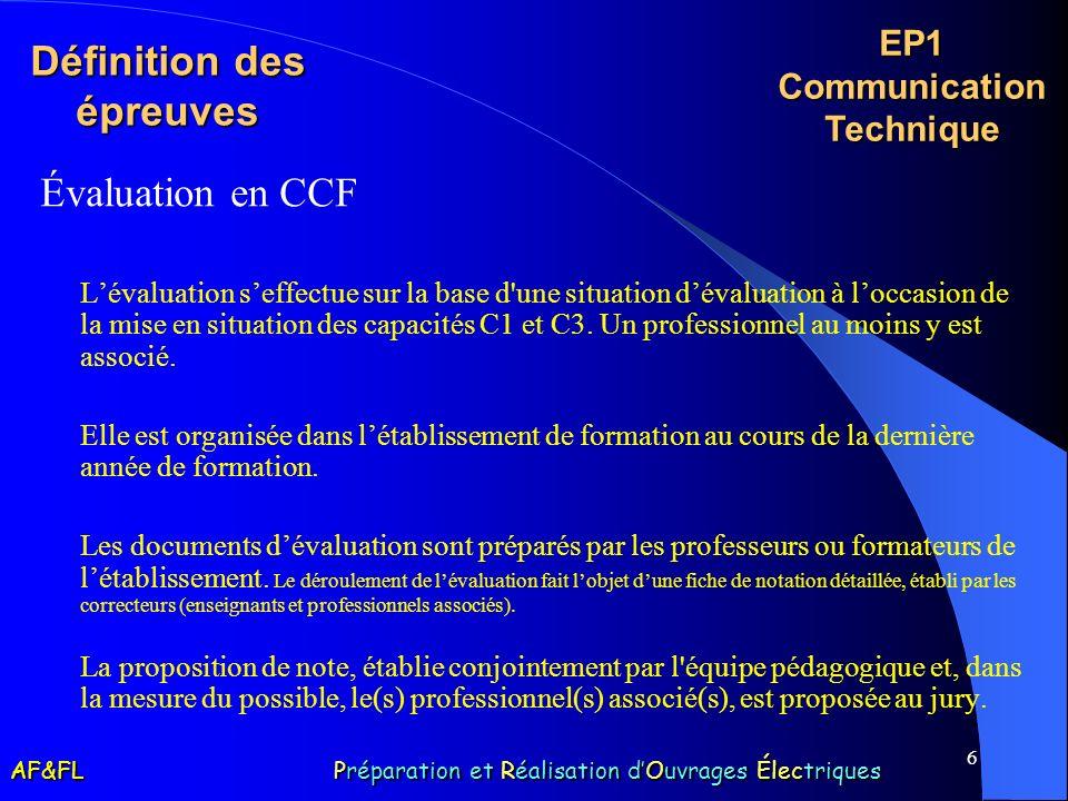 6 Définition des épreuves Évaluation en CCF Lévaluation seffectue sur la base d'une situation dévaluation à loccasion de la mise en situation des capa
